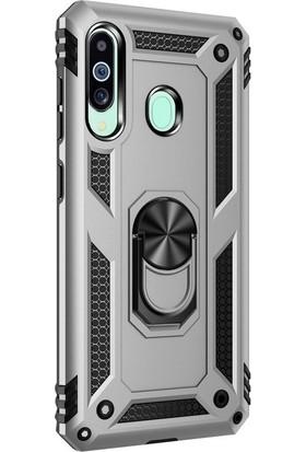 Aksesuarkolic Samsung Galaxy M40 Kılıf Çift Katmanlı Tank Yüzüklü Mıknatıslı Vega Kapak + Nano Glass Gümüş