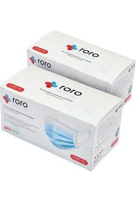 Roro Medical Tip2R 3 Katlı ve Telli Cerrahi Maske 50'li x 2 Adet