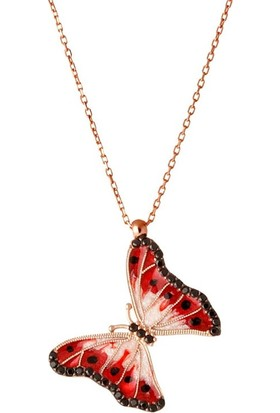 Afrodit Silver Kelebek Sembollü Tasarım Gümüş Kadın Kolye