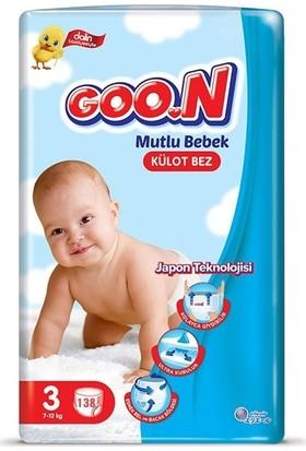 Goon Mutlu Bebek 3 Numara Külot Bez 7-12 kg Jumbo 138 Adet