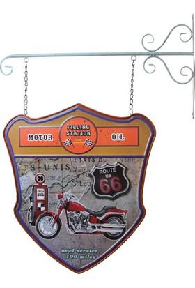 MNK Dekoratif Çift Yönlü Route 66 Temalı Ferforje Askı