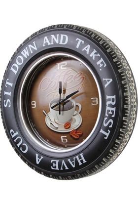 MNK Dekoratif Araba Tekerleği Coffea Timetemalı Saatli LED Işıklı