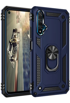 Mor Aksesuar Huawei Nova 5T Kılıf Yüzüklü Standlı Tank Zırh Silikon Mavi