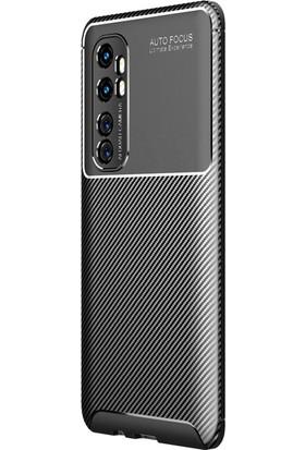 Happyshop Xiaomi Mi Note 10 Lite Kılıf Karbon Desenli Lux Negro Silikon + Cam Ekran Koruyucu