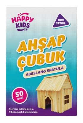 Happy Kids Abeslang Ahşap Spatula Naturel Geniş Dil Basma Çubuğu 50'li