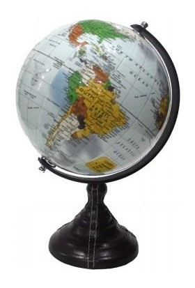 AVVA Dekoratif Siyah Deri Kaplamalı Dönen Küre Dünya