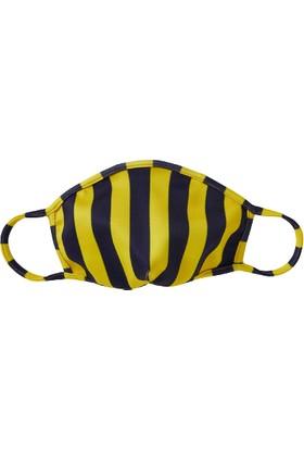 Massarelli Yıkanabilir Neopren Kumaş Desenli Maske Sarı Lacivert