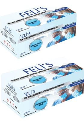 Feli's 3 Katlı Meltblown (Antimikrobiyal Filtreli) Tip 2 Ultrasonik Telli Cerrahi Maske 50'li 2 Adet