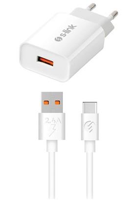 S-Link SL-EC13T 3500 mAh Ev Şarj 18W + 2.4A Type-C USB Quick 3.0 Hızlı Şarj Adaptör Seti