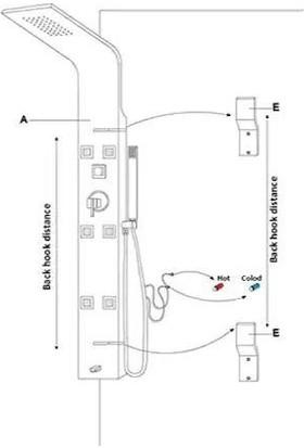 SAM Kuğu Dikey Duş Paneli Masajlı Duş Sistemi Siyah