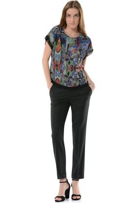 Birelin Tetris Desenli Piliseli Bluz