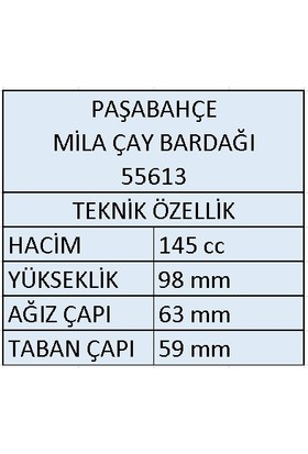 Paşabahçe 55613 Mila Kulplu Çay Bardağı 145 cc 12 Adet