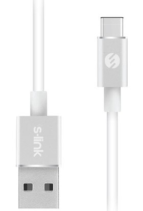 S-link Swapp SW-C709 3 mt 2.4A USB to Type-C Beyaz Data + Şarj Kablosu