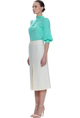 Demet Şener Mint Rengi Düğme Detaylı Bluz