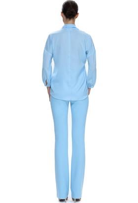 Demet Şener Açık Mavi Bağlamalı Bluz