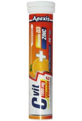 Apexis Vit C 1000 mg + Vit D3 + Zinc 20 Efervesan Tablet