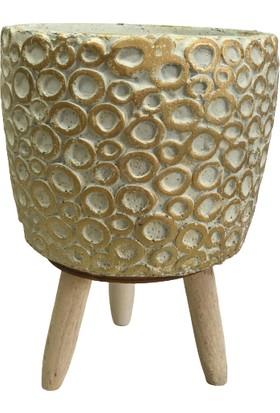 Bitki Tasarımı Yüzük Model Ayaklı Saksı Kırık Beyaz Üzeri Gold