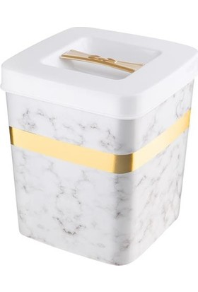 Kaya Store Mermer Desen Lüx Çöp Kutusu 4 lt Beyaz