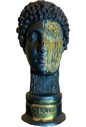 Molina Store Hermes Büst Heykel Siyah Gold