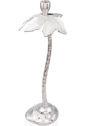 Lamedore Palmıye Gümüş Dekor Mumluk