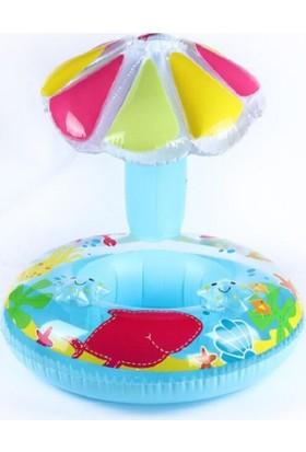Schulzz Şemsiyeli Ayak Geçmeli Şişme Deniz Simidi- Baby Float