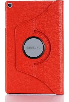 """Fibaks Samsung Galaxy Tab A SM-T590 10.5"""" Kılıf + Kalem 360 Derece Dönebilen Standlı Tam Koruma Uyku Modlu Kapaklı Kırmızı"""
