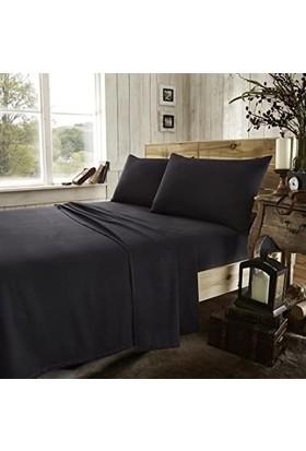 Stella Flavo Luxury Ranforce Tek Kişilik Lastikli Çarşaf Seti 120 x 200 + 30 cm Yastık Kılıflı Siyah