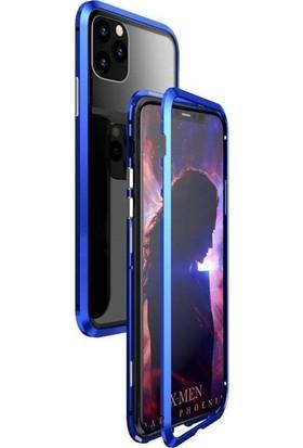 Aksesuarkolic Apple iPhone 11 Kılıf Magnetic Cam 2in1 Arka Cam Mavi