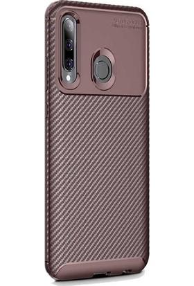 Madam Case Huawei Honor 20 Lite Kılıf Negro Karbon Dizayn Silikon + HD Nano Ekran Koruyucu Kahverengi