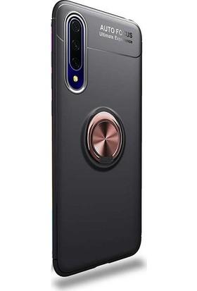 Aksesuarkolic Huawei P Smart Pro 2019 Kılıf Ravel Silikon Yüzüklü Mıknatıslı Bronz