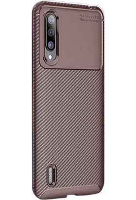 Aksesuarkolic Xiaomi Mi 9 Lite Kılıf Negro Karbon Dizayn Silikon Kahverengi