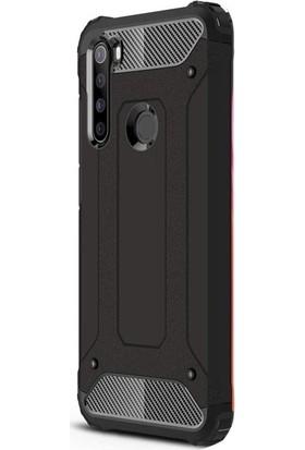 Aksesuarkolic Xiaomi Redmi Note 8T Kılıf Crash Tank Çift Katman Koruyucu + HD Nano Ekran Koruyucu Siyah