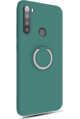 Aksesuarkolic Xiaomi Redmi Note 8T Kılıf Plex Yüzüklü Standlı Lux Silikon + HD Nano Ekran Koruyucu Yeşil