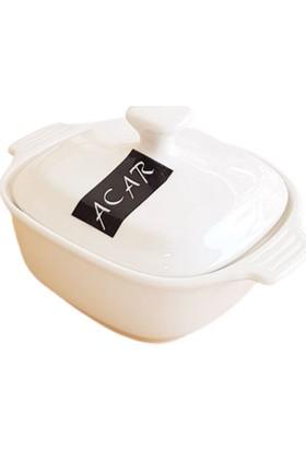 Acar Porselen 4'lü Kapaklı Mini Kare Kase Kahvaltılık Tencere 14 cm
