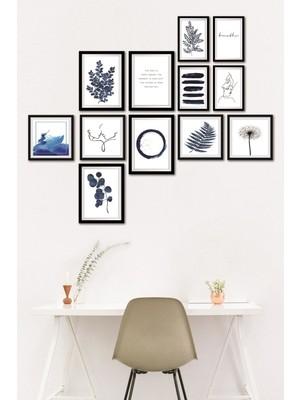 Dekolia 12 Parça Kuşe Kağıt Duvar Posteri Tablo Seti Çerçeve Görünümlü