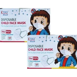 KTEKS Çocuk Tek Kullanımlık 3 Katlı Telli Cerrahi Yüz Maske 50 Adet 2'li