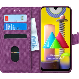 Microsonic Samsung Galaxy M31 Kılıf Fabric Book Wallet Mor