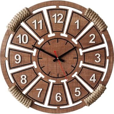 D&a Halatlı Dekoratif Ahşap Mdf Duvar Saati 50 cm Sümela Fiyatı