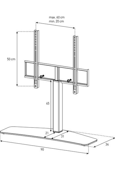 "Sonorous Pl 2345 55"" LED & LCD Tv Masa Üstü Sehpası"