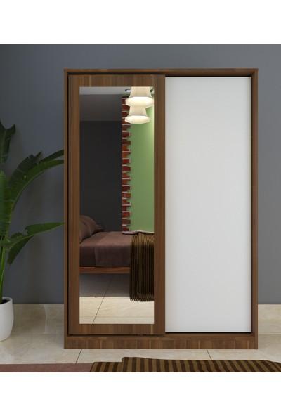 Hepsi Home Aynalı Sürgü Kapaklı Çekmeceli Gardırop - Beyaz Ceviz