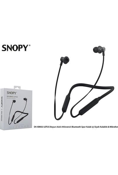 Snopy SN-XBK02 Lotus Boyun Askılı Mıknatıslı Bluetooth Spor Kulakiçi Kulaklık & Mikrofon - Siyah