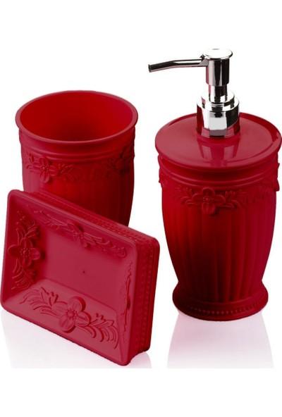 Sultan Mutfak Seti 3 Parça Sıvı Sabunluk Kırmızı