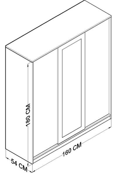 Hepsi Hometiffany Aynalı Sürgü Kapaklı 2 Çekmeceli Gardırop - Beyaz Ceviz