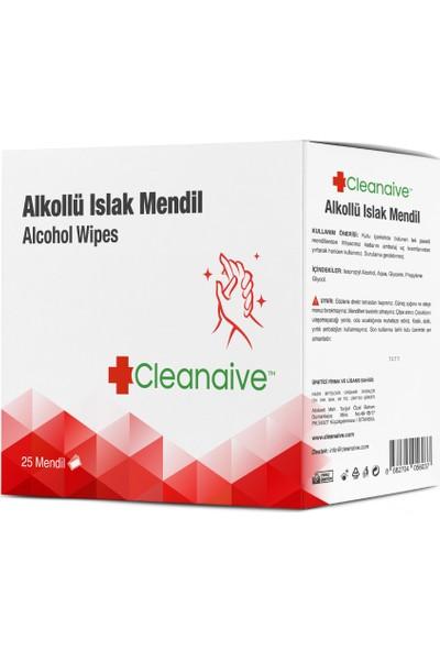 Cleanaive Alkollü Islak Mendil - (25 Mendil)