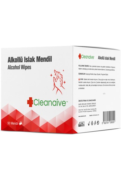 Cleanaive Alkollü Islak Mendil - (50 Mendil)