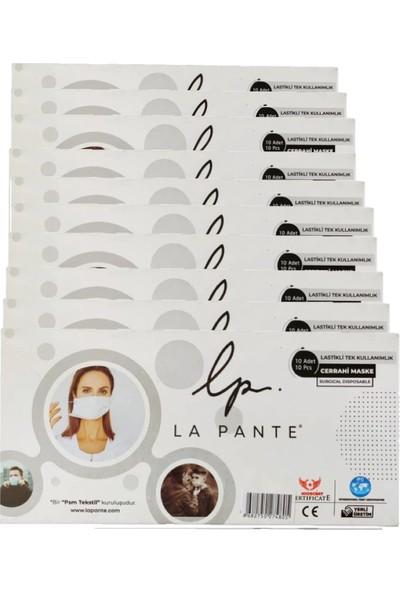 La Pante Lastikli Tek Kullanımlık 3 Katlı Telli Cerrahi Maske 10 Adet 10 Kutu