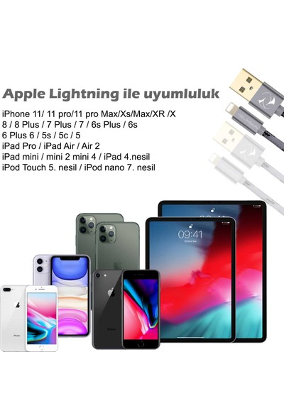 Helixsun Apple Iphone USB Lightning Data ve Hızlı Şarj Kablosu 3'lü Set 2 Adet 1 mt Ve 1 Adet 2 mt Füme