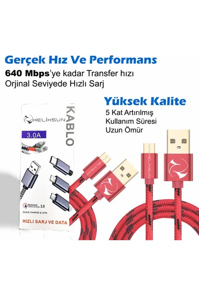 Helixsun 3.0A Micro USB Hızlı Şarj Data Kablosu Android 3'lü Paket 2 Adet 1 Metre ve 1 Adet 2 Metre - Kırmızı