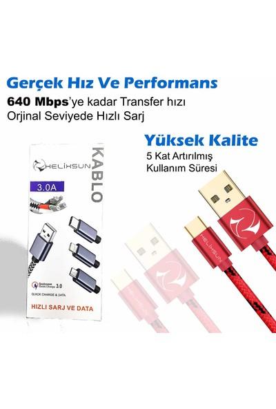 Helixsun 3.0A Usb Type-C Hızlı Şarj ve Data Kablosu 1 mt Gri
