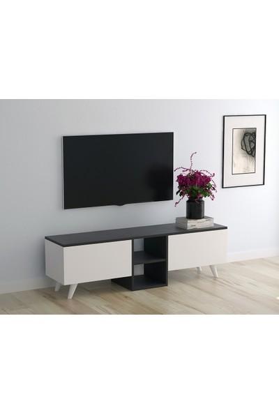 PlatinReyon Ece Tv Ünitesi Dekoratif Tv Sehpası Antrasit 140 cm